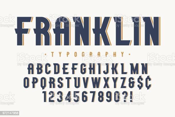 Franklin Trendy Vintage Ekran Yazı Tipi Tasarımı Alfabe Stok Vektör Sanatı & Alfabe'nin Daha Fazla Görseli