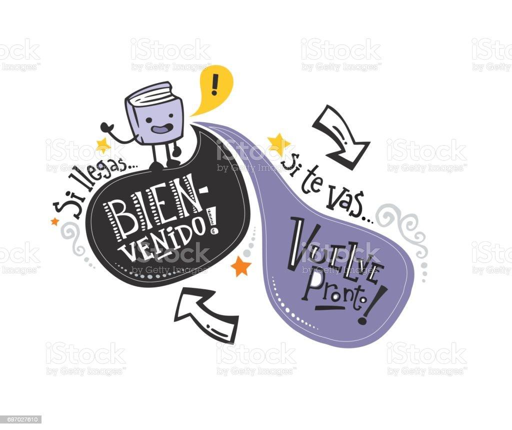 Frase de bienvenida pt español_libro - ilustração de arte em vetor