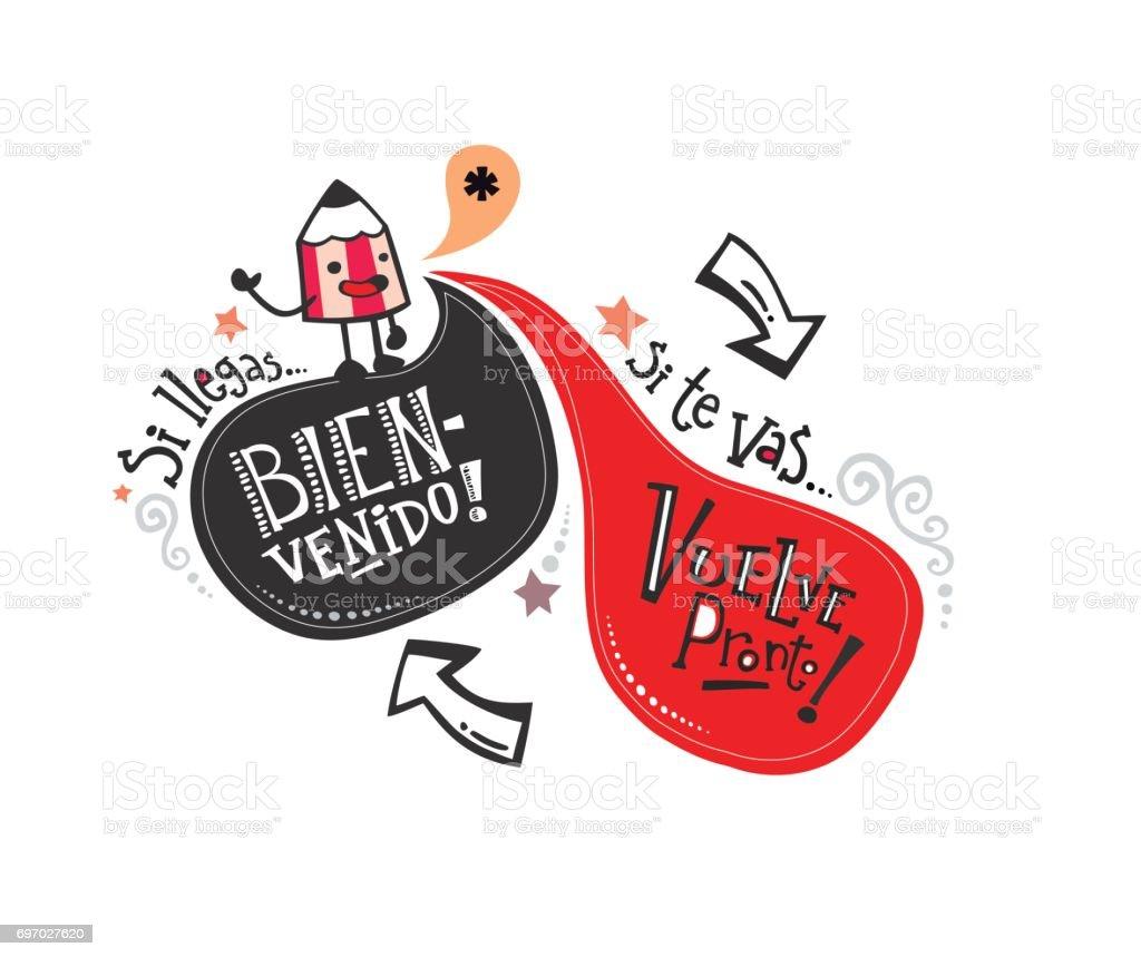 Frase de bienvenida pt español_lápiz - ilustração de arte em vetor