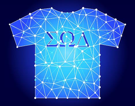 Frat TShirt  Blue Triangle Node Vector Pattern