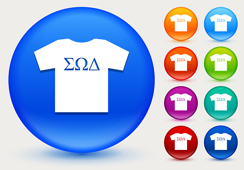 Frat T-shirt Icon on Shiny Color Circle Buttons