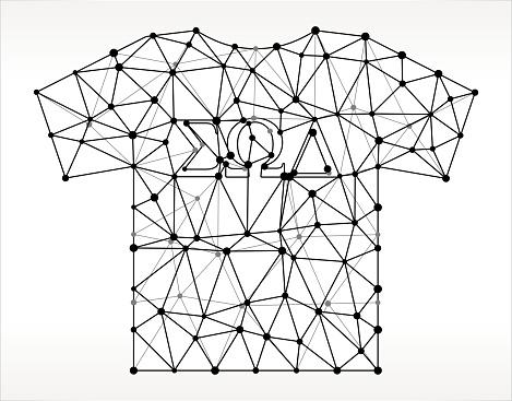 Frat TShirt  Triangle Node Black and White Pattern