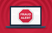 Fraud alert digital laptop computer crime warning.