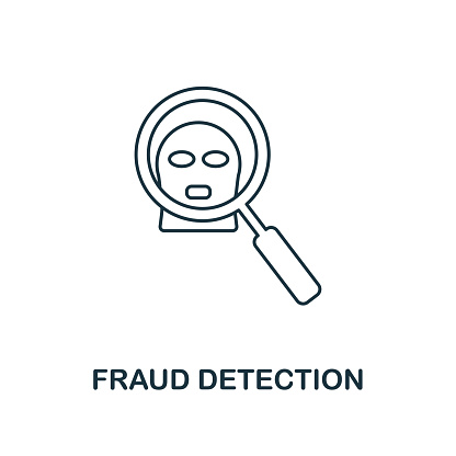 Fraud Detection icon outline style. Thin line design from fintech icons collection. Pixel perfect fraud detection icon for web design, apps, software, print usage