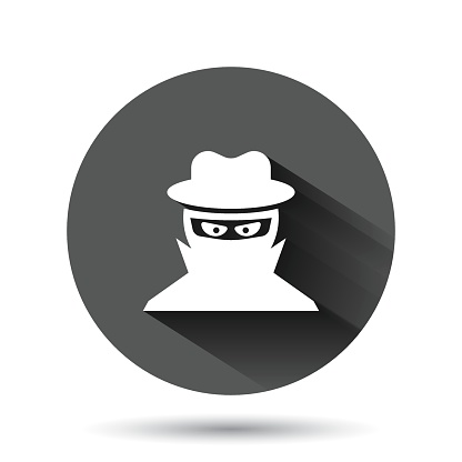 Fraud Hacker Icon In Flat Style Spy Vector Illustration On Black Round Background With Long Shadow Cyber Defend Circle Button Business Concept Stock Illustration Download Image Now Istock