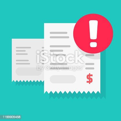 Fraud payment rejected or pay declined caution notification vector illustration flat cartoon, bill or invoice receipt with exclamation alert or transaction verification isolated, bad money transfer