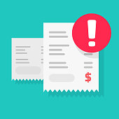 istock Fraud payment rejected or pay declined caution notification vector illustration flat, bill or invoice receipt with exclamation alert or transaction verification isolated, bad money transfer 1199905458