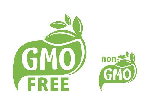 GMO free and non-GMO green flat eco-friendly stamp