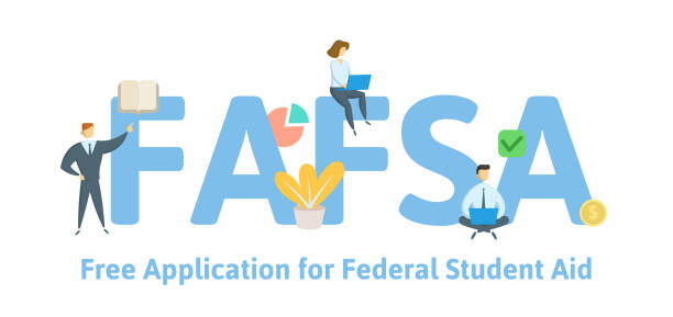 FAFSA, Free Application for Federal Student Aid. Concept with keywords, letters and icons. Flat vector illustration. Isolated on white background. FAFSA, Free Application for Federal Student Aid. Concept with keywords, letters and icons. Colored flat vector illustration. Isolated on white background. fafsa stock illustrations