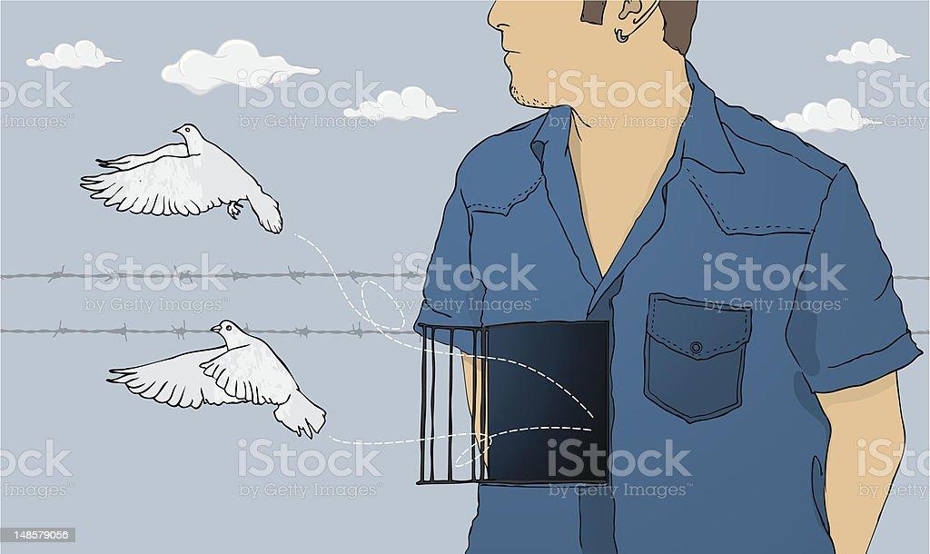 Free as a bird vector art illustration