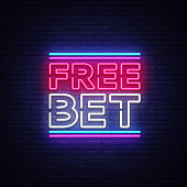 Free Bet Neon sign vector. Light banner, bright night neon sign on the topic of betting, gambling.