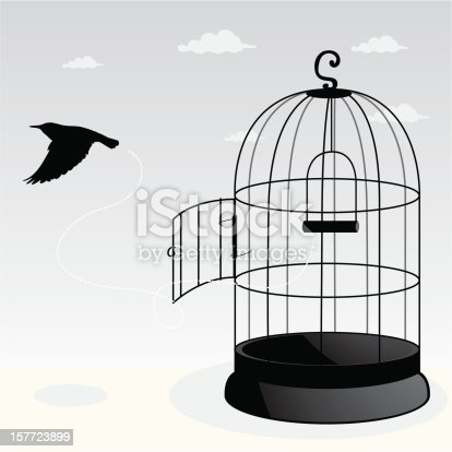 Bird is escaping from its cage. All design elements are layered and grouped. Simple gradient was used. Included files: Aics3 and hi-res jpg.