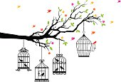 freedom, tree branch with birds and open birdcage, vector illustration