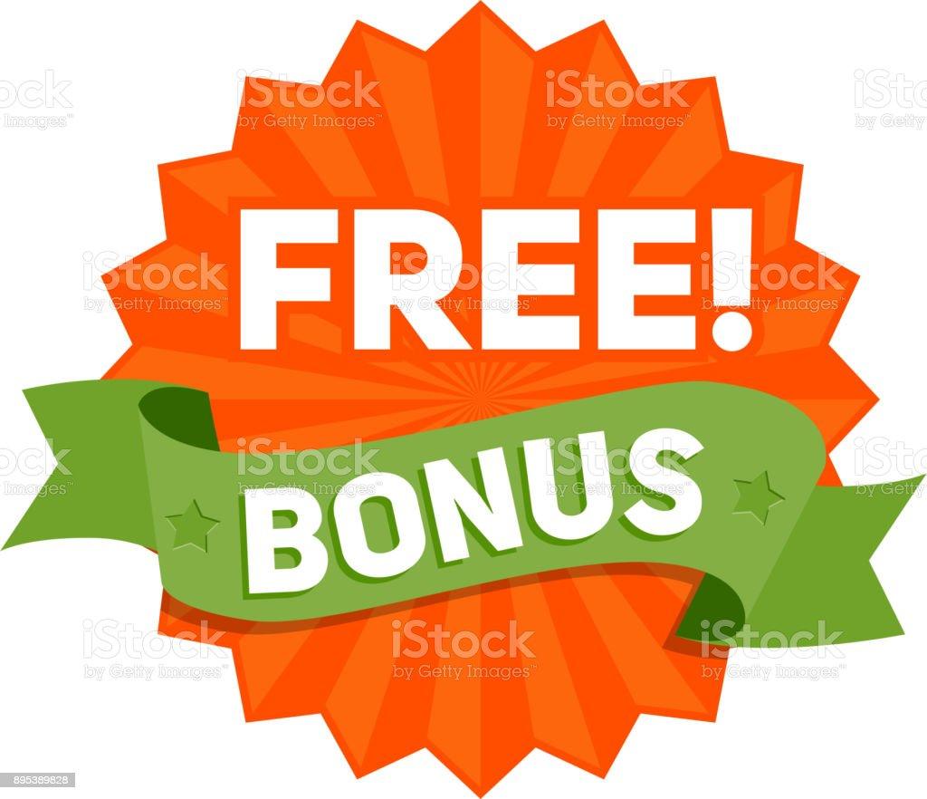 Bonus gratuit arborant un ruban. Vector - Illustration vectorielle