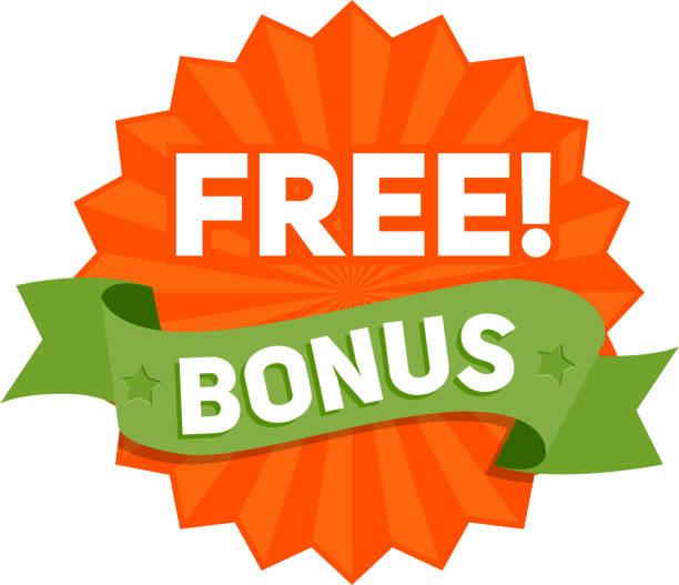 gratis bonus-abzeichen mit band. vektor - freiflächen stock-grafiken, -clipart, -cartoons und -symbole