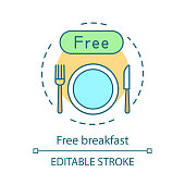 Free breakfast concept icon. Hotel amenities. Continental breakfast, beverage, plate and cutlery. In room dining idea thin line illustration. Vector isolated outline drawing. Editable stroke