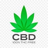 CBD free cannabis leaf vector icon. 100 percent cannabis THC free logo, medical canabis hemp stamps