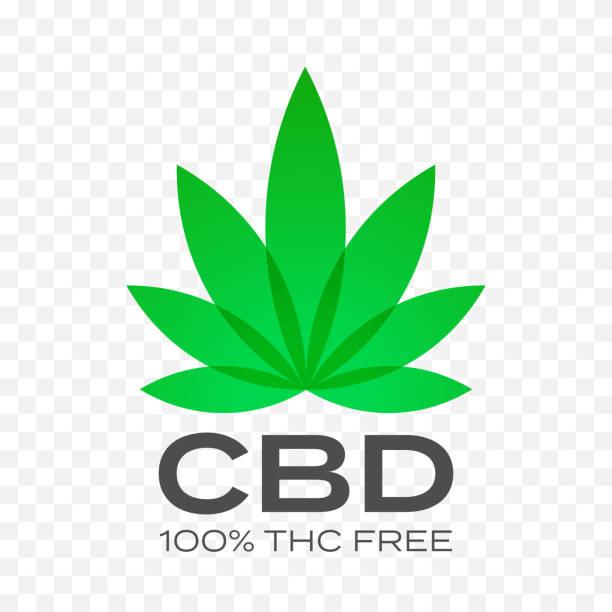 bildbanksillustrationer, clip art samt tecknat material och ikoner med cbd gratis cannabis leaf vektor ikonen. 100 procent cannabis thc fri logotyp, medicinsk canabis hampa frimärken - product image