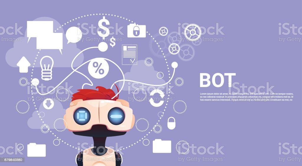 Chat gratis Bot, Robot Asistencia Virtual elemento del sitio web o aplicaciones móviles, concepto de Inteligencia Artificial - ilustración de arte vectorial