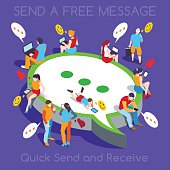 Online Realtime Chat Collection. Interacting People Unique Isometric Realistic Poses. NEW bright palette 3D Flat Vector Icon Set. Free Web Communication with Personal Devices
