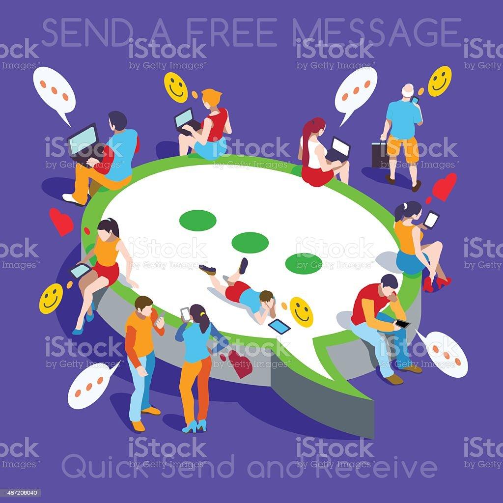 Free Chat Set People Isometric vector art illustration