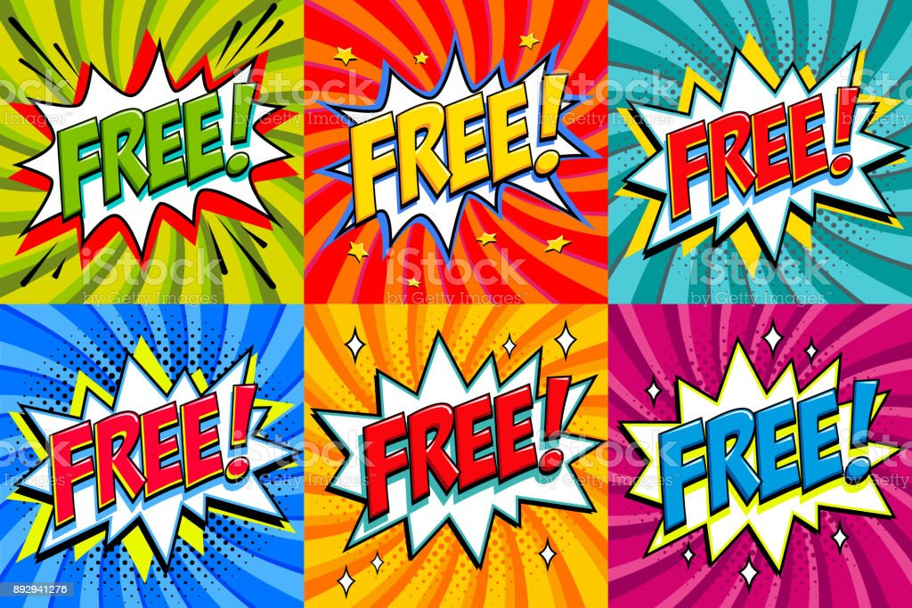 Free - Comic book style stickers. Free banners in pop art comic style. Color summer banners in pop art style Ideal for web. Decorative backgrounds with bomb explosive vector art illustration
