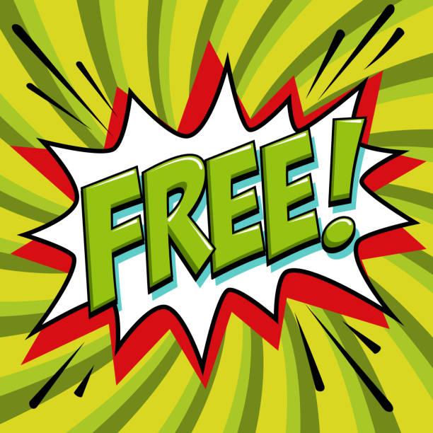 illustrations, cliparts, dessins animés et icônes de gratuit - mot style bande dessinée sur un fond vert. bannières gratuit en pop art style comique. bannière été de couleur dans le style pop art idéal pour le web. fond décoratif avec bombe explosive - gratuit