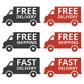 Free delivery and free shipping truck icons. Vector illustration