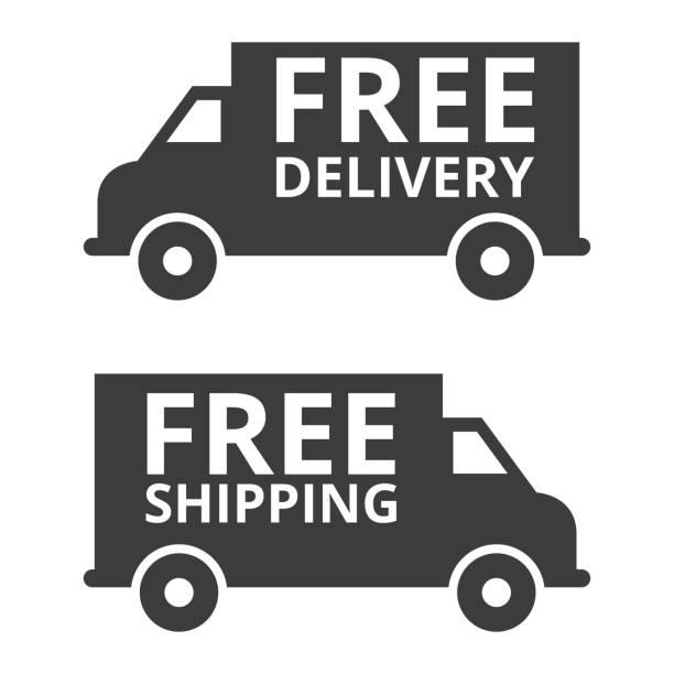 kostenloser versand und kostenloser versand lkw. - freiflächen stock-grafiken, -clipart, -cartoons und -symbole