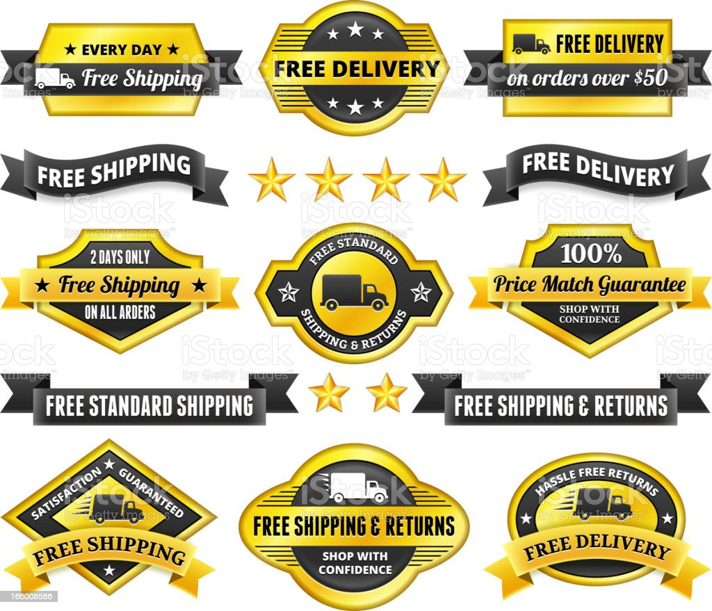 Free Delivery badge set vector art illustration