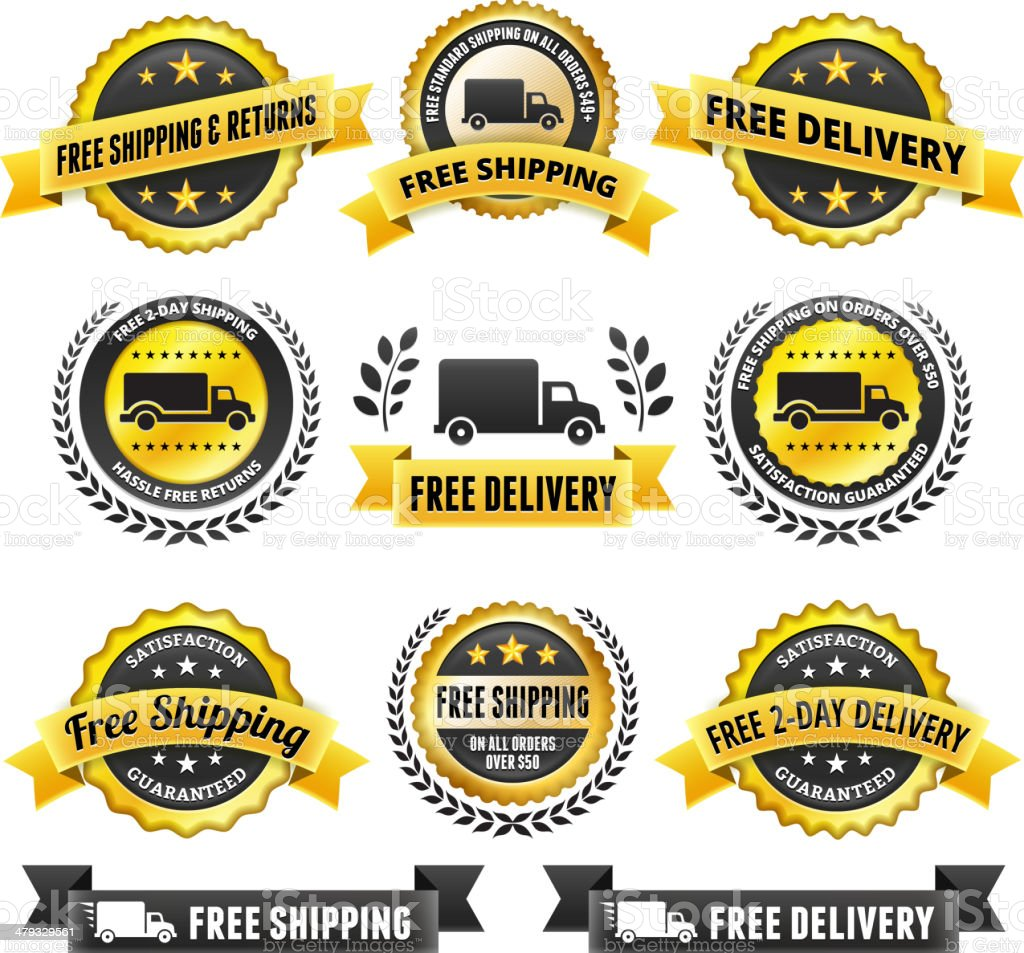 Free Delivery badge set royalty-free stock vector art