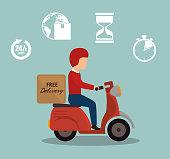 free delivery boy driver motr bike set icon vector illustration