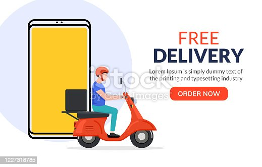 istock Free delivery boy phone service. Delivery man food or pizza motorcycle service, online order courier 1227318785