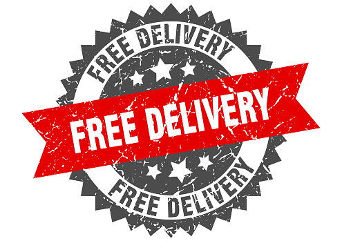 free delivery grunge stamp with red band. free delivery