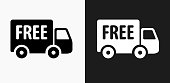 Free Delivery Icon on Black and White Vector Backgrounds. This vector illustration includes two variations of the icon one in black on a light background on the left and another version in white on a dark background positioned on the right. The vector icon is simple yet elegant and can be used in a variety of ways including website or mobile application icon. This royalty free image is 100% vector based and all design elements can be scaled to any size.
