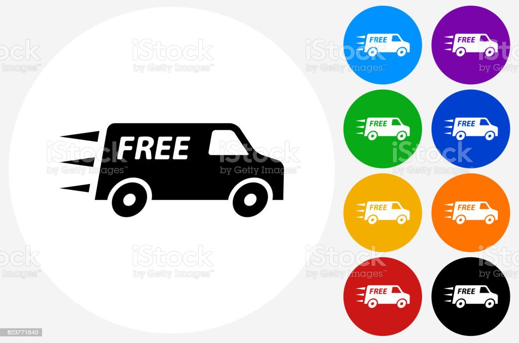free delivery icon on flat color circle buttons のイラスト素材
