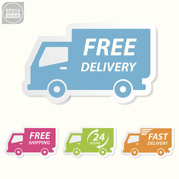 free delivery icons set. - delivery van stock illustrations, clip art, cartoons, & icons