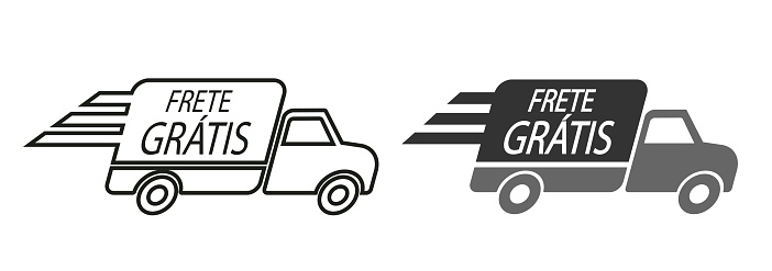 Free Delivery in Portuguese language. Truck icon vector illustration.