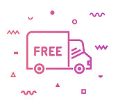 Free delivery outline style icon design with decorations and gradient color. Line vector icon illustration for modern infographics, mobile and web designs.