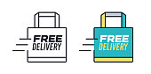 Free delivery shopping bag icon concept symbol.