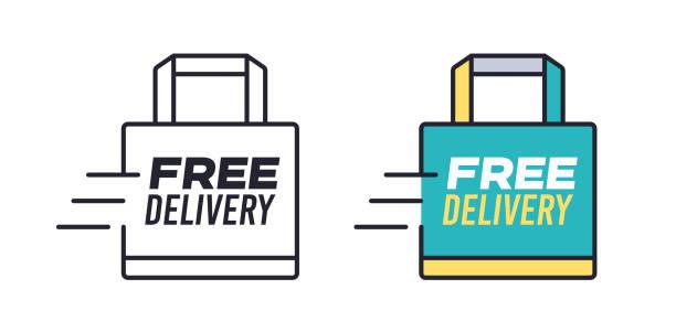 Kostenlose Lieferung Einkaufstasche – Vektorgrafik