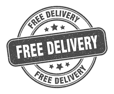 free delivery stamp. free delivery label. round grunge sign