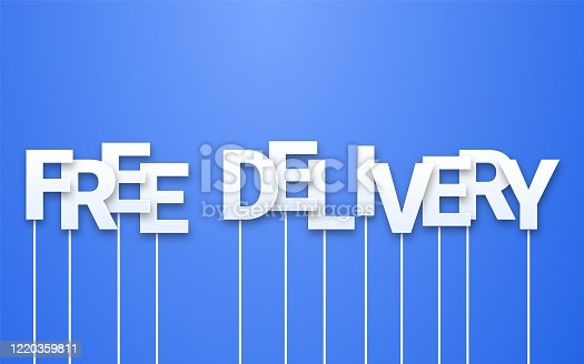 Free delivery text on blue background. Letters on sticks, photo booth props. Marketing phrase or email newsletter template during covid-19 quarantine. Blogging, web advertising and social media.