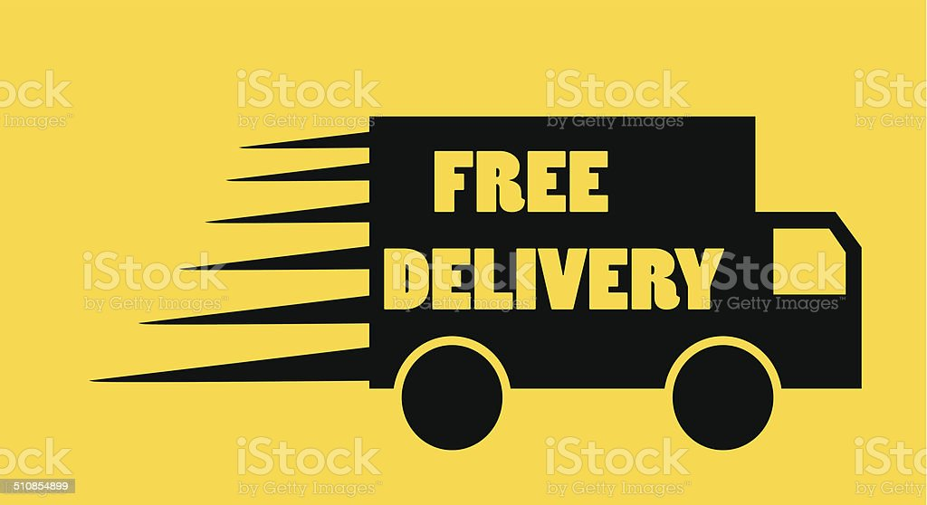 Free Delivery Truck Icon Vector On Orange Background Stock