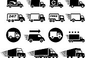 Free Delivery Trucks black and white icon set