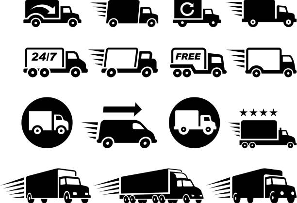 Free Delivery Trucks black and white vector icon set Free Delivery Trucks black and white icon set  semi truck stock illustrations