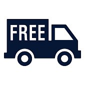 Free delivery van icon vector Illustration on white background with the word free on the side. High resolution JPEG and Transparent PNG included in file.