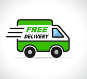 Illustration of free delivery van on white background
