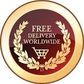Free shipping worldwide golden shield with a laurel wreath.