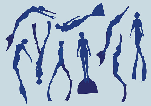 Free divers silhouette.
